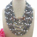 8 strands Pearl&Natural Labradorite <b>Necklace</b>