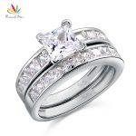 Peacock Star Solid 925 Sterling Silver 2-Pcs Wedding Engagement Ring Set 1 Ct Princess Cut <b>Jewelry</b> CFR8020