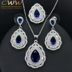 CWWZircons 3 layers Cubic Zirconia Paved Water Drop Blue Earring Necklace Ring 925 Silver <b>Jewelry</b> Set For Women T283