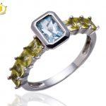 Hutang Womens Natural Aquamarine & Peridot Gemstone Solid 925 Sterling <b>Silver</b> Ring Fine <b>Jewelry</b> For Gift Christmas