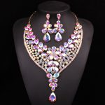 Fashion Big Crystal <b>Necklace</b> Earring set Bridal <b>Jewelry</b> Sets for Brides bridesmaid Wedding Party costume Decoration Gifts Women