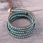 KELITCH <b>Jewelry</b> Brown Leather Chain Natural Green Stone Beaded Bracelet Heart Beads 5 Wrap <b>Handmade</b> Bracelet For Women Gifts