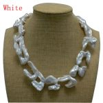 17 inches 20-40mm White Thick Hook Shaped Baroque Biwa Pearl Necklace