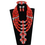 Luxury 4 Layers Nigerian Real Coral Beads Jewelry Sets Coral and <b>Silver</b> Bridal Statement Necklace Set 2018 CNR271