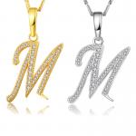 Fashion Creative Design <b>Jewelry</b> Letter M 18K Necklace Zircon Embellishment Charm Women Party Gift <b>Jewelry</b> Fitting <b>Supply</b>