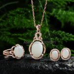 Elegant 925 <b>Silver</b> Natural White HeTian Jade Beads Inlay Gem Hollow Lucky Pendant Necklace <b>Earring</b> Ring Woman's Fine Jewelry Set