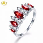 Hutang Engagement Ring Natural Gemstone Red Garnet Similar Diamond Solid 925 Sterling <b>Silver</b> Fine <b>Jewelry</b> Presents Gift NEW