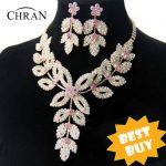 Chran Wholesale Gold Color Flower Wedding Bridal Austrian Crystal Rhinestone Vintage Necklace And Earring <b>Jewelry</b> Set DDJSR1591