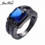JUNXIN Fashion Male Blue Stone Ring Gorgeous Square Design Zircon Finger Ring Vintage Party <b>Wedding</b> Rings For Men <b>Jewelry</b> Gifts