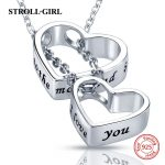 2018 Aliexpress silver 925 double love heart chain pendant&necklace diy craft I love you fashion <b>jewelry</b> <b>making</b> for lover gifts