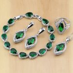 Rhombic Green Created Emerald White CZ 925 Sterling <b>Silver</b> Jewelry Sets For Women Earrings/Pendant/Necklace/Rings/<b>Bracelet</b>