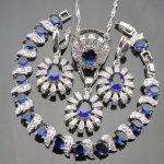 Blue CZ White Rhinestones 925 Silver Christmas Costume <b>Jewelry</b> Sets Women Earrings/Pendant/<b>Necklace</b>/Rings/Bracelets Free Box