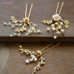Jonnafe Exquisite Gold Branch Wedding Hair Pins Women Comb Pearls Bridal Hair Piece <b>Jewelry</b> <b>Handmade</b> Accessories