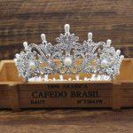 Luxury Pearl Bridal Gold/Silver Round Tiara Crown Bride Headpiece Women Diadem Hair Ornaments <b>Wedding</b> Hair <b>Jewelry</b> Accessories