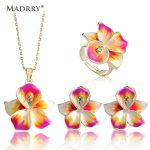 Madrry Alloy Metal Enamel Flower <b>Jewelry</b> Sets Gold Color Pendant Necklace Earrings Ring Boucles d'oreilles Anneaux Women Party