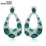 DreamCarnival 1989 Grand Stylish Fashion Statement <b>Jewelry</b> Green Black White Color Zircon Luxury Bridal <b>Wedding</b> Earings SE11964R