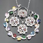 Wedding Colorful Stones 925 Sterling <b>Silver</b> Ladies Bridal Jewelry Sets For Women Ring Size 6/7/8/9/10 <b>Bracelet</b> Length 18CM