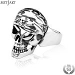 MetJakt Men's Punk One-eyed Skull Ring Solid 925 <b>Sterling</b> <b>Silver</b> Ring for Man Personality Gothic Halloween <b>Jewelry</b>
