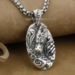 925 Sterling <b>Silver</b> Dragon Tag Mens Biker Rocker Pendant 9E013A(<b>Necklace</b> 24inch)