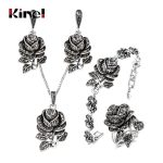 Kinel 4pcs Vintage Silver Color Jewellery Set <b>Fashion</b> Black Crystal Rose Flower <b>Jewelry</b> Sets For Women Wedding Party Gift