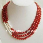 Free shipping diy Wonderful 3 Rows 6mm Red jades chalcedony and White Pearl Necklace round beads <b>jewelry</b> <b>making</b> MY2325