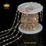 5Meter Zircon Faceted Flat Round Chains <b>supplies</b>,3mm 4mm or 6mm Beads Brass Gold Plated Wire Wrapped links Rosary Chain HX089