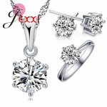 JEXXI Wedding <b>Jewelry</b> Sets 925 Sterling Silver 6 Claw Cubic Zircon CZ Pendant Necklaces Earring Rings Engagement Set