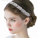 Stunning Silver Rhinestone Headband Tiara Pearl Wedding Hair Vine Bridal Hair Band Women Head Pieces <b>Jewelry</b> with Ivory Ribbon