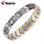 Rainso Men <b>Jewelry</b> Bio Energy Gold color Magnetic Health Bracelet Men Bracelets & Bangles Stainless Steel Bracelets For Women