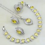 925 Sterling <b>Silver</b> Jewelry Yellow Cubic Zirconia White CZ Bridal Jewelry Sets For Women Earring/Pendant/Necklace/<b>Bracelet</b>/Ring