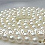 Genuine 8-9mm cultured freshwater white round natural pearl charms necklace <b>making</b> 34 inch AA+ MY4612