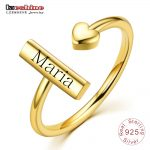 LZESHINE Customize Engraved Name Ring Gold Color Silver S925 Personalized Custom Adjustable Rings For Women Anniversary <b>Jewelry</b>