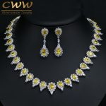 Gorgeous Pear Drop Yellow Crystal And Cubic Zirconia Party <b>Jewelry</b> Set For Women Luxury Wedding Costume Jewellery T267