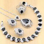 925 Sterling Silver <b>Jewelry</b> Black Stone White CZ <b>Jewelry</b> Sets For Women Earrings Pendant Rings Bracelet Necklace Set