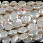 FREE SHIPPING1string 88-21 Natural Cultured Freshwater 13mm coin Pearl beads Great for <b>Jewelry</b> Making ,Loose beads