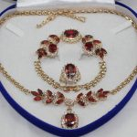 Women's Wedding fast shipping> > GP Golden-tone Inlay Red crystal Necklace Bracelet Ring Earring set real silver-<b>jewelry</b>