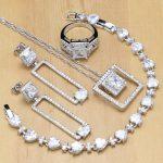 <b>Silver</b> 925 Jewelry Sets White Zircon Stone Beads Decoration Women Engagement Earrings/Pendant/Rings/<b>Bracelet</b>/Necklace Set