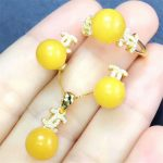 fine jewelry factory wholesale trendy yellow amber natural gemstone 925 sterling <b>silver</b> jewelry bridal jewelry sets
