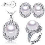 Wedding natural pearl jewelry sets women luxury white bridesmaid jewelry sets natural pearl <b>earrings</b> ring fine jewelry girl gift