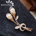New fashion Elegant Zircon tulip pearl brooch clothing <b>accessories</b> wedding bride <b>jewelry</b> crystal brooch high quality hot sell
