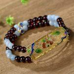 Pure Hand-string Garnet Beads Cloisonne Hand-Hai Lanbao <b>Bracelet</b> Wholesale Factory Wholesale