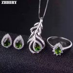 ZHHIRY Women Natural Diopside Gemstone Jewelry Sets Genuine 925 Sterling <b>Silver</b> Set Ring <b>Earring</b> Pendant Chain Fine Jewelry