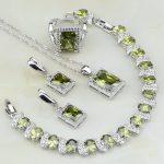 Olive Zircon White Crystal Bridal 925 Sterling <b>Silver</b> Jewelry Sets For Women Wedding Earring/Pendant/Necklace/<b>Bracelet</b>/Ring
