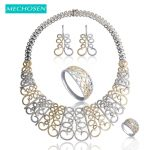 MECHOSEN Luxury Full Zirconia Flower Jewelry Set <b>Silver</b>/Gold Color Necklace Earrings <b>Bracelet</b> Ring For Women Wedding Party Joyas