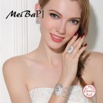 [MeiBaPJ]Luxury Atmosphere Round Shape Set with S925 Pure Sterling <b>Silver</b> AAA Zircon Ring+<b>Earrings</b>+Bracelet Set For WomenJewelry