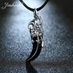 JIASHUNTAI Retro 100% 925 <b>Silver</b> Sterling Pendant <b>Necklace</b> Black Stone Wolf Tooth Thai <b>Silver</b> Jewelry For Cool Men