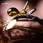 GLSEEVO Real 925 Sterling Silver Ring Gold Color Snail Ginkgo Leaf <b>Handmade</b> Women's Ring Fashion <b>Jewelry</b> Anel Feminino GR0004