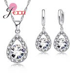 JEXXI Bridal Best Gifts 925 Steling Silver Wedding Anniversary <b>Jewelry</b> Sets CZ Crystal Water Drop Necklace Earrings Set