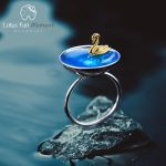 Lotus Fun Moment Real 925 Sterling Silver Natural Creative <b>Handmade</b> Designer Fine <b>Jewelry</b> Poetic Swan In The Sea Rings for Women