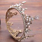 Vintage Bronze Color Round Crystal Queen Crown Tiara Bridal Head <b>Jewelry</b> Headpiece <b>Handmade</b> Wedding Hair <b>Jewelry</b> Accessories